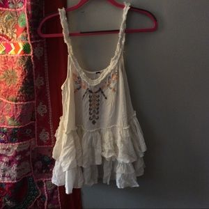 Free people white ruffle tank top with embroidery